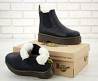 Женские ботинки С МЕХОМ - Dr. Martens 2976 Platform Chelsea Boots Black / Доктор Мартинс Челси, С МЕХОМ черные