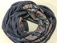 Широкий снуд из двойного трикотажного и  шерстяного полотна цвет серо-голубой