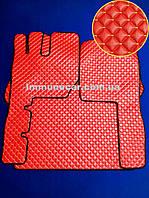 Ковры экокожа на VOLVO FH 2002-2008 МКП красные в кабину.