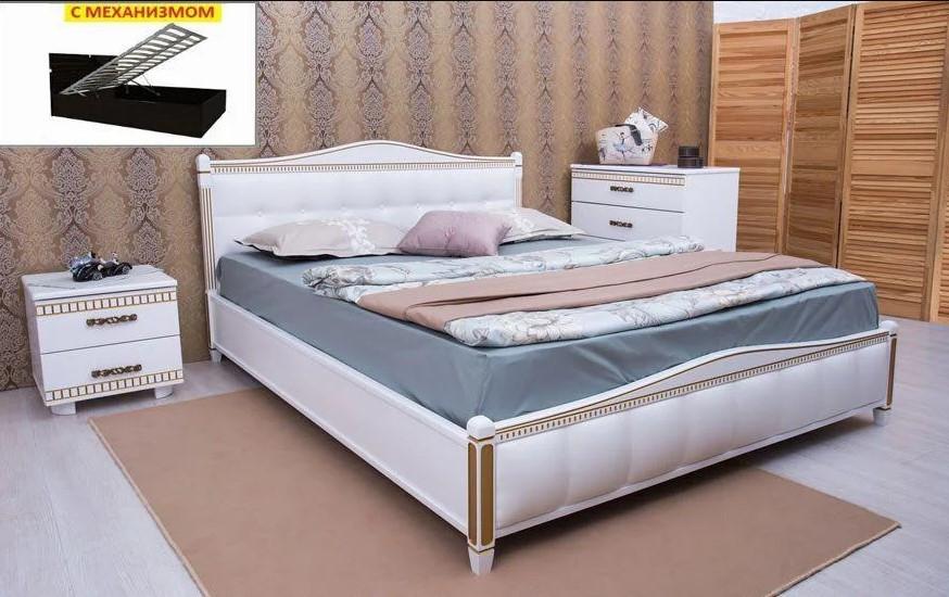 Кровать Прованс патина и фрезеровка мягкая спинка квадраты с механизмом.ТМ Олимп
