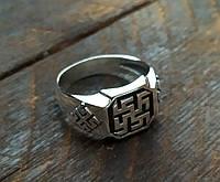 Кольцо серебряное Цветок папоротника и Боговник 30328