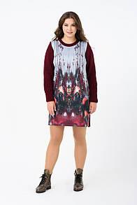 Осеннее платье большого размера RM1895-B-18DD (бордовый цвет)