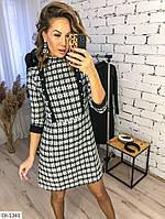 Теплое деловое платье-трапеция в клетку арт 41370