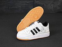 """Кроссовки кожаные мужские Adidas Forum """"Белые с черными полосками"""" адидас р. 42-44"""