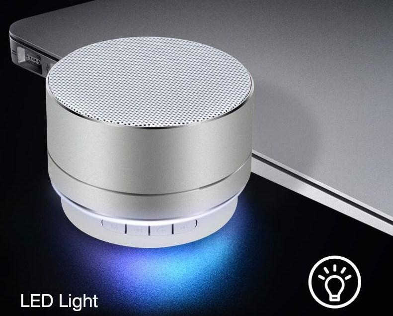 Портативная Bluetooth колонка SPS S10 New с LED подсветкой серебристый