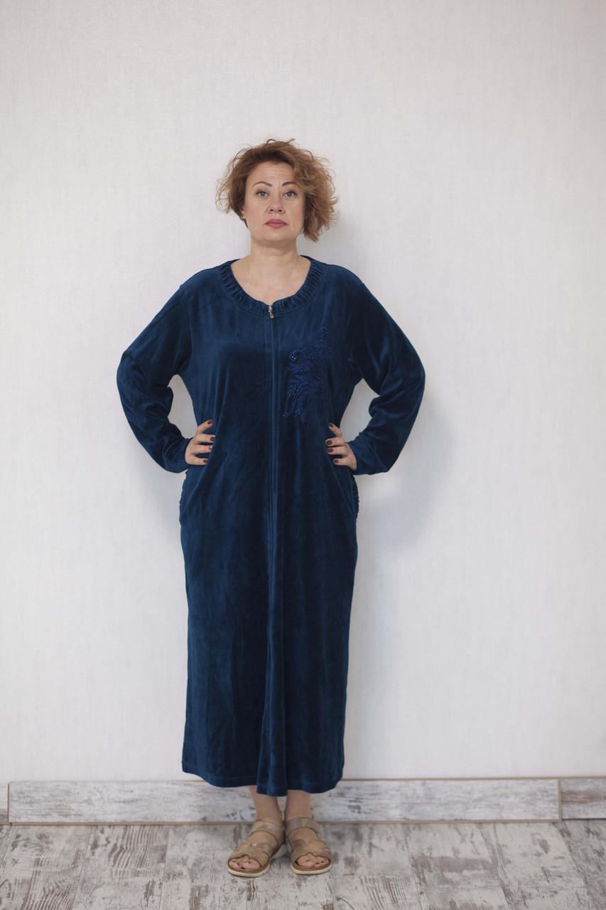 Красивый однотонный велюровый халат женский