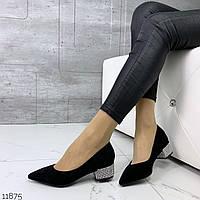 Туфли женские замшевые лодочки на низком каблуке 4 см чёрные