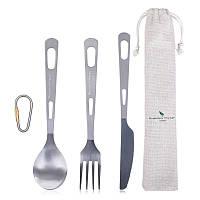 Туристические столовые предметы из титана Boundless Voyage 3в1 (ложка, вилка, нож) Титановая посуда