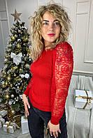 Облегающий джемпер лапша с фатиновыми рукавами.Разные цвета, фото 1