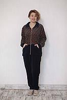 Женский костюм велюровый батал кружочки, фото 1