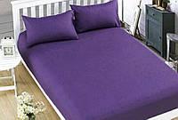 Простынь на резинке фиолетовая из бязи, любой размер , с наволочками и без