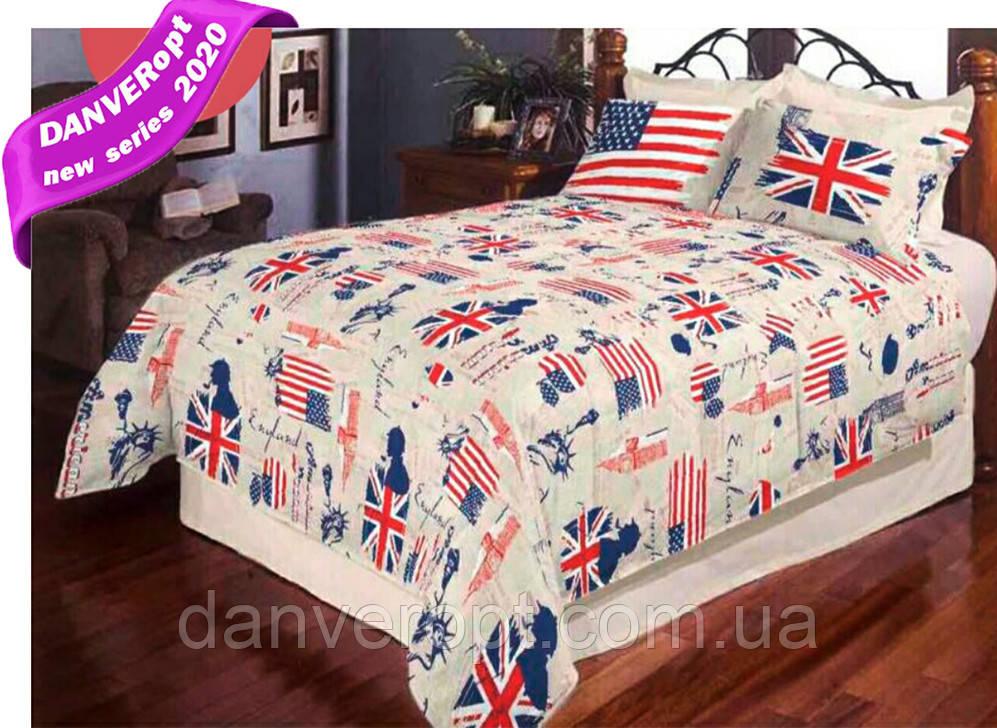 Постільна білизна двоспальне BRITAN vs AMERICA бавовна ,розмір 175*215, купити оптом зі складу 7км Одеса