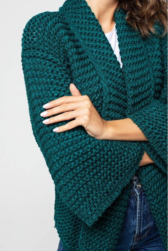 Кардиган крупная вязка с широким рукавом 42-52 размер