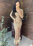 Длинное платье из сетки с блестками и с отделкой из перьев vN6356, фото 5