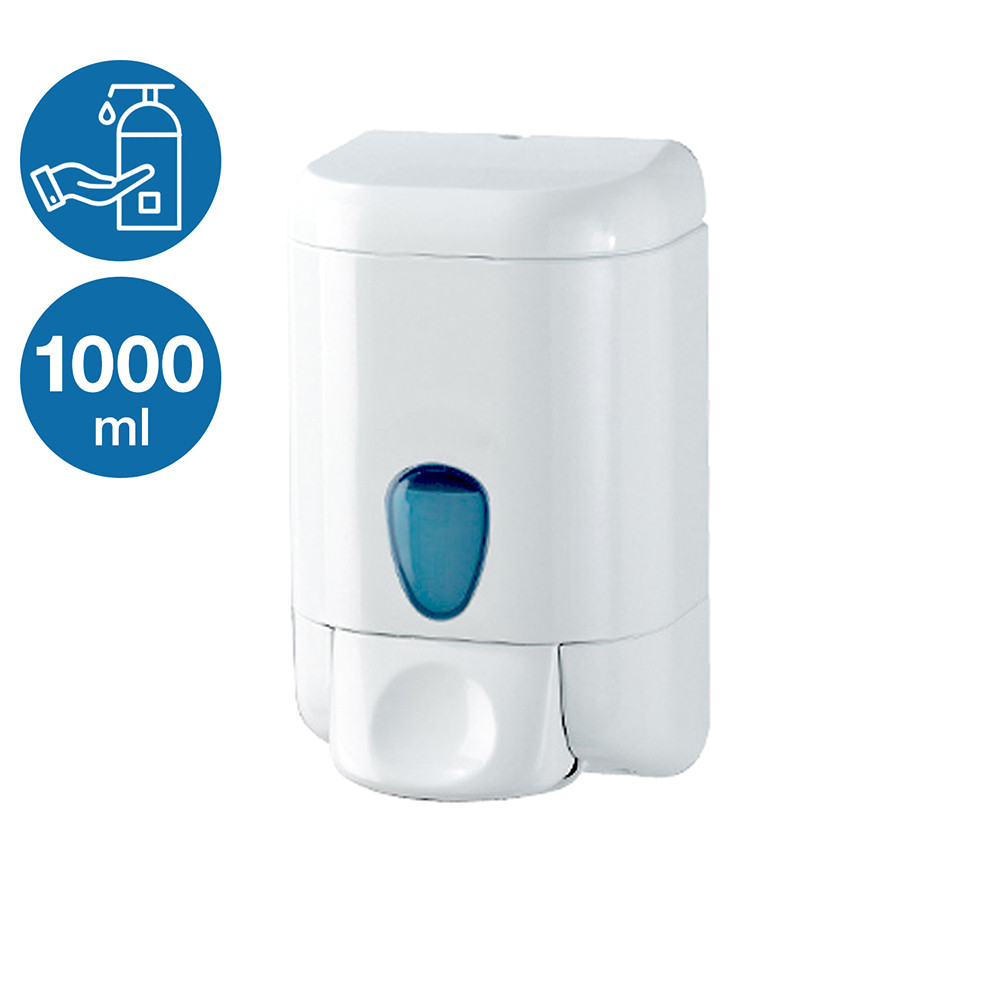 Дозатор диспенсер жидкого мыла шампуня моющего 1000 мл белый пластиковый настенный прочный наливной