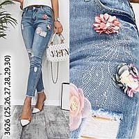 Джинсы МОМ с аппликацией и рванкой New jeans 1-3626