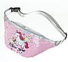 Розовая поясная сумка с единорогом в паетках