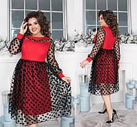 """Очаровательное вечернее женское платье в больших размерах 822 """"Клёш Миди Сетка Горох Контраст"""" в расцветках"""