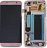 Дисплей (экран) для Samsung G935F Galaxy S7 Edge + тачскрин, розовое золото, Pink Gold, с передней панелью,