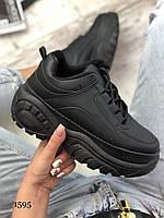 ТОЛЬКО 40р. Черные женские кроссовки в стиле Buffalo 40р-25 см