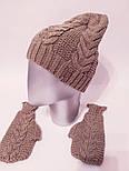 Женский вязаный набор шапка на флисе и митенки vN6476, фото 2