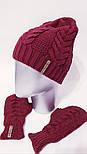Женский вязаный набор шапка на флисе и митенки vN6476, фото 3