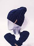 Женский вязаный набор шапка на флисе и митенки vN6476, фото 5