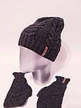 Женский вязаный набор шапка на флисе и митенки vN6476, фото 6
