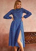 Платье летнее макси в горох ниже колена с рукавами на резинке с разрезом на ноге Цвет : Электрик Размер : 42 44 46 Материал : Креп - шифон k-52917