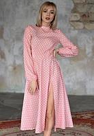 Платье летнее макси в горох ниже колена с рукавами на резинке с разрезом на ноге Цвет : Персиковый Размер : 42 44 46 Материал : Креп - шифон k-52920