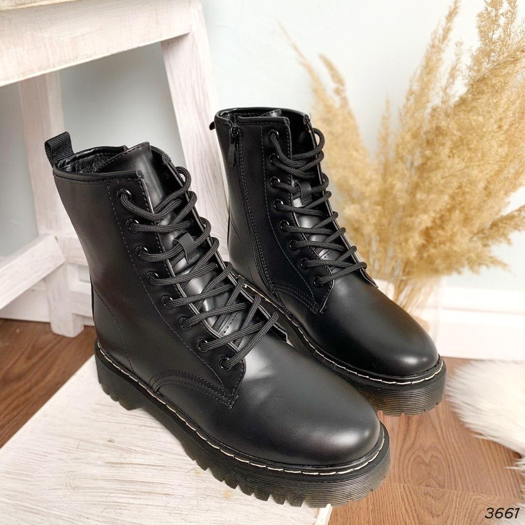 Женские зимние ботинки черного цвета, эко кожа 40 41 ПОСЛЕДНИЕ РАЗМЕРЫ