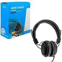 Наушники кожаные Sonic Sound E322B/MP3, Цвет Чёрный