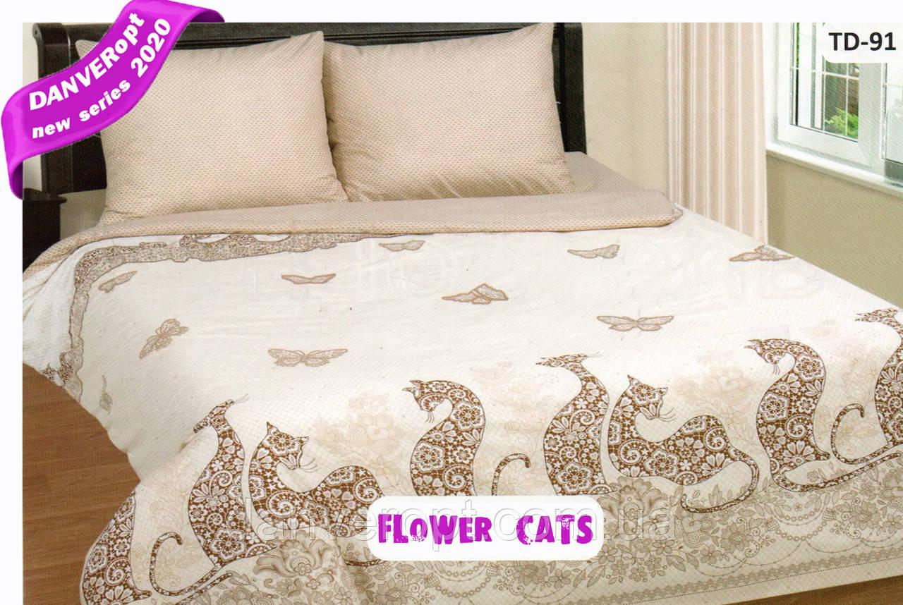 Постільна білизна двоспальне FLOWER CATS бавовна ,розмір 175*215, купити оптом зі складу 7км Одеса