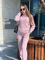 Женский ультрамодный вязаный костюм пудра (светло-розовый)