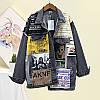 Асиметрична джинсова куртка з принтом