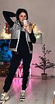 Жіночий теплий костюм спорт трійка з жилетом з стьобаної плащової тканини vN6574, фото 2