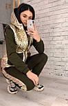 Жіночий теплий костюм спорт трійка з жилетом з стьобаної плащової тканини vN6574, фото 3