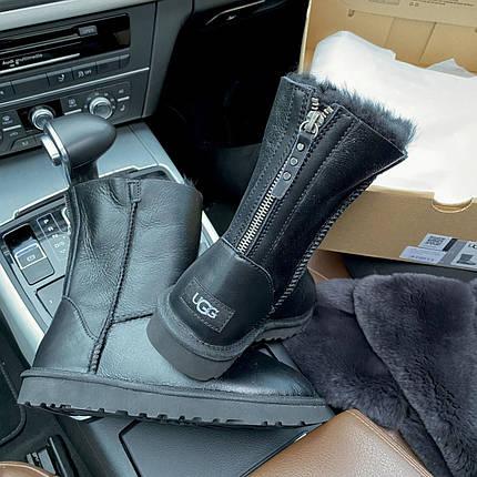 Угги женские в стиле UGG Australia Classic Short II Black Leather, фото 2