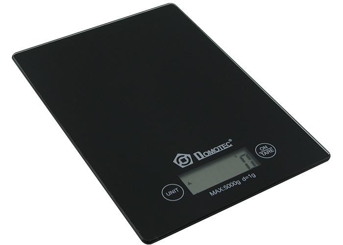 Электронные сенсорные кухонные весы стеклянные на 5 кг Domotec MS-912 Черные