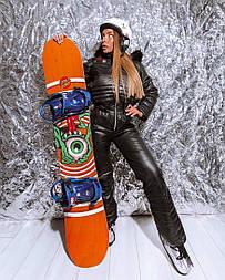 Женский зимний горнолыжный комбинезон с резинкой на талии и меховой опушкой на капюшоне vN6608