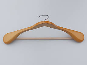 Плечики вешалки  деревянные светлые широкие с антискользяшей перекладиной, длина 45 см, фото 3