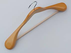 Плечики вешалки  деревянные светлые широкие с антискользяшей перекладиной, длина 45 см, фото 2
