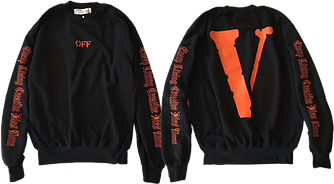 Оригинальная толстовка свитшот / Men's sweatshirt Off-White x Vlone (BLACK / ORANGE)