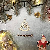 Новогодняя игрушка из дерева елка с шишками HP-20061