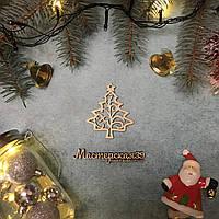 Новогодняя игрушка из дерева елка завитушками HP-20066