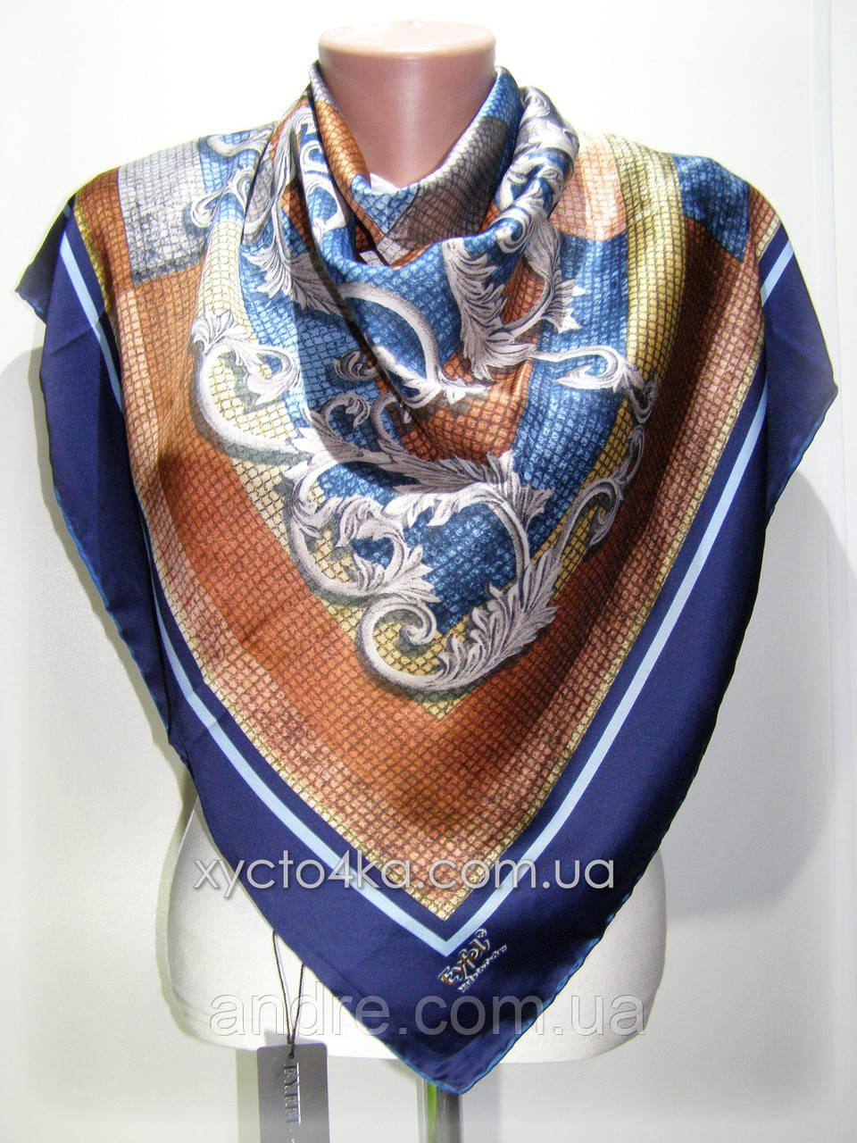Атласный платок Авангард, синий
