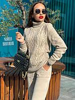 Женский вязаный костюм свитер и брюки бежевый
