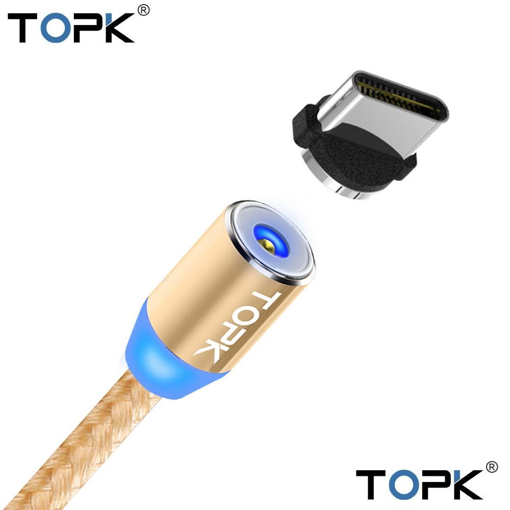 Магнитный кабель 360° USB 2.0 для зарядки Type C. TOPK AM23. Золотой