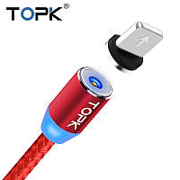 TOPK AM23! Магнитный USB кабель 360° для зарядки Iphone Красный