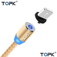 TOPK AM23! Магнитный USB кабель 360° быстрая зарядка. Iphone Золотой, фото 1